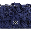 Chanel navy blue bag with embroidered flowers