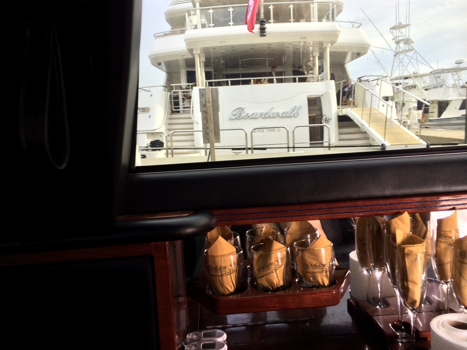 View of Tilman Fertitta yacht from limo May 2014