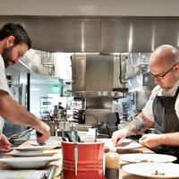 The Pass and Provisions Houston restaurant chefs, Terrence Gallivan and Seth Siegel-Gardner in kitchen