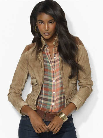 bloomingdales Lauren Ralph Lauren Leather-Trimmed Denim Jacket