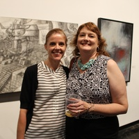 Robin Sher, left, and Cary Reeder at the Lawndale Big Show preview party July 2014