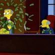 Mr. Burns from the Simpsons having a money fight with Smithers