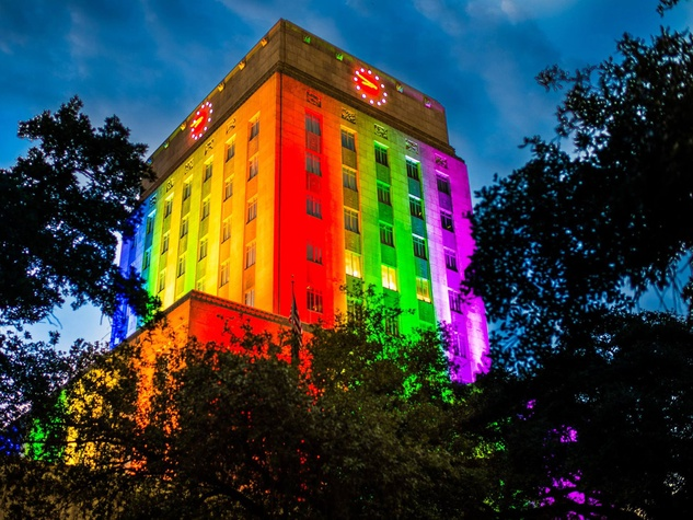 Houston City Hall pride colors rainbow light gay pride parade