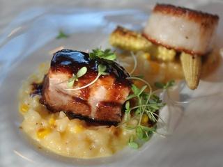 Triniti Restaurant, risotto, scallop, pork belly, corn