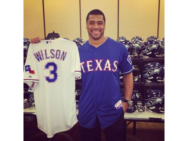 Russell Wilson in a Texas Rangers jersey