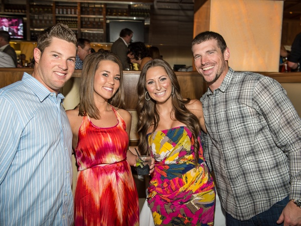 Astros Wives underwriter dinner, June 2012, Bud Norris, Aubree Gerardi, Summar Buck, Travis Buck