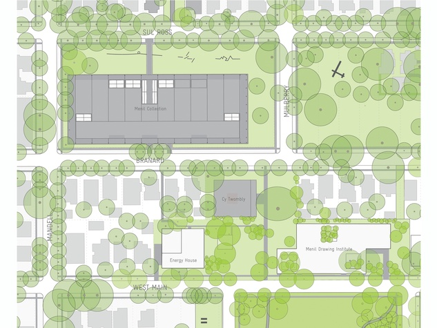 6. Site plan for the Menil Drawing Institute and new Energy House in relation to the main museum building and Cy Twombly GallerY