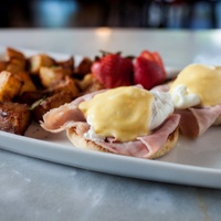 Eggs benedict at Toulouse Cafe and Bar in Dallas