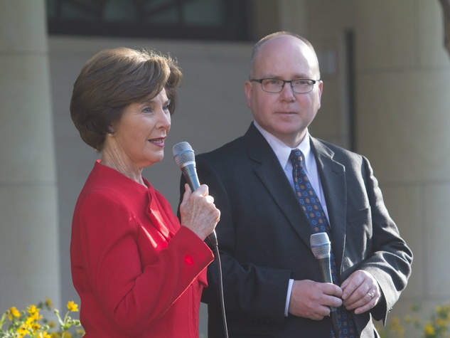 Laura Bush and Alan Lowe at George W. Bush Presidential Center in Dallas