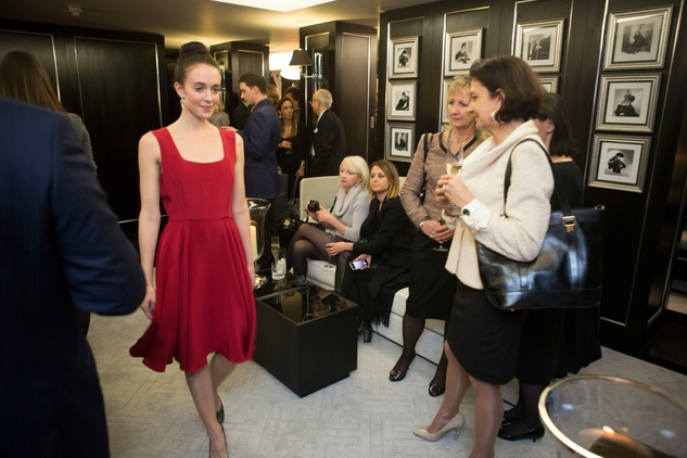Model at Jonathan Blake trunk show in London