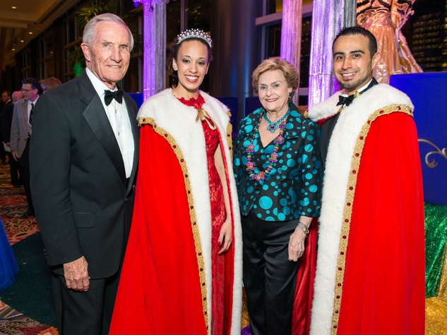 8 George Strake, from left, Adrienne Copeland,  Annette Strake and King Alfonso Moreno at the St. Thomas Mardi Gras Gala February 2015