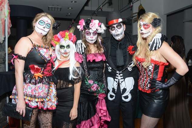 Tori Ayers, from left, Alex Parmet, Lacy Williams, Justin Ottemier and Taylor Trncack at the Brasserie 19 Halloween party October 2014