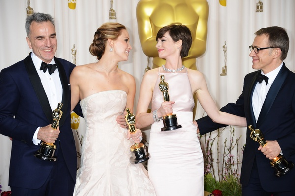 Daniel Day-Lewis, Jennifer Lawrence, Anne Hathaway, Christoph Waltz, Academy Awards, February 2013