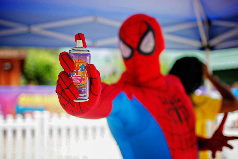2 Children's Museum with Spiderman Appearance and Silly String Showdown August 2014