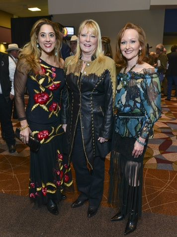 4 Kristina Sommerville, from left, Brenda Stewart and Carol Sawyer at the RodeoHouston Wine Auction Dinner March 2014