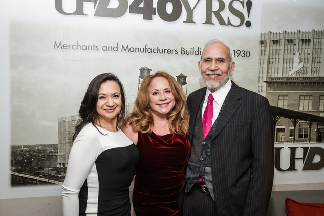 5 Tricia Harris, from left, with Max and Rosario Castillo at the UH Downtown 40th anniversary gala January 2015