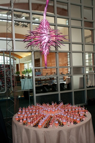 Installation view of Spin Drop Flower by Lee Littlefield, with Phoenicia's designed desserts at UH School of Art fundraiser