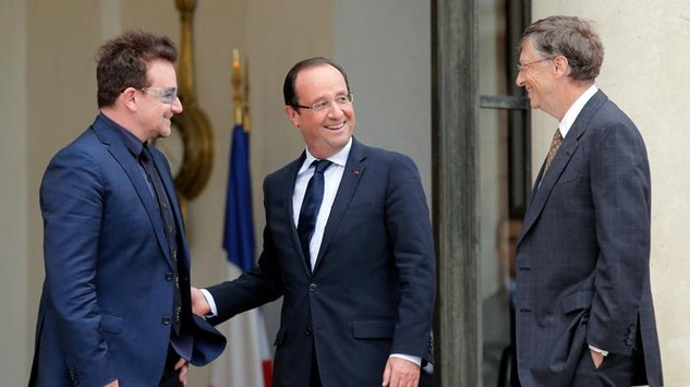 Bill Gates with Bono and French president