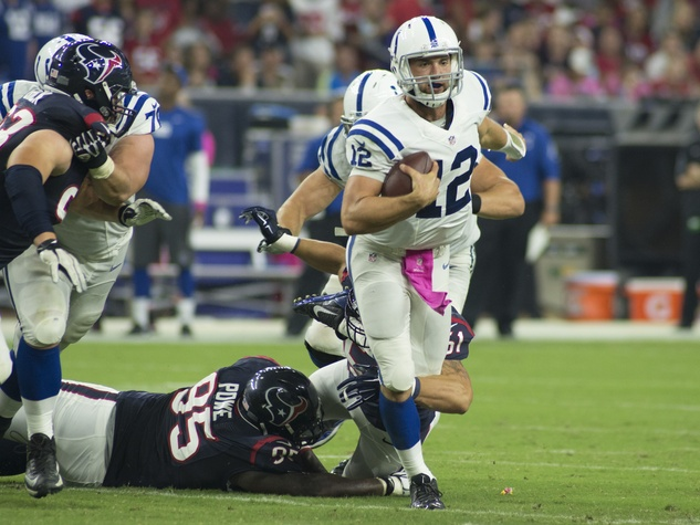 7 Texans vs. Colts October 2014 Colts 12 Andrew Luck being tackled