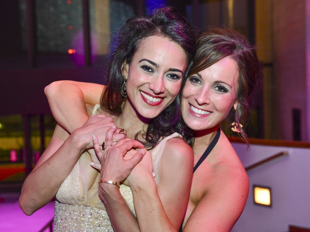 2790 Maryam Afshari, left, and Sheena Garner at the Houston Symphony Centennial Ball after party May 2014