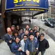 The Suffers pose in front of David Letterman show theater
