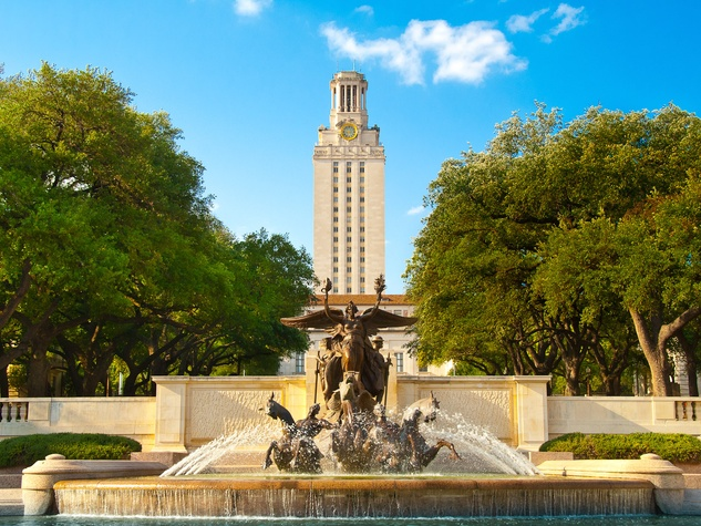 University of Texas UT tower and fountain