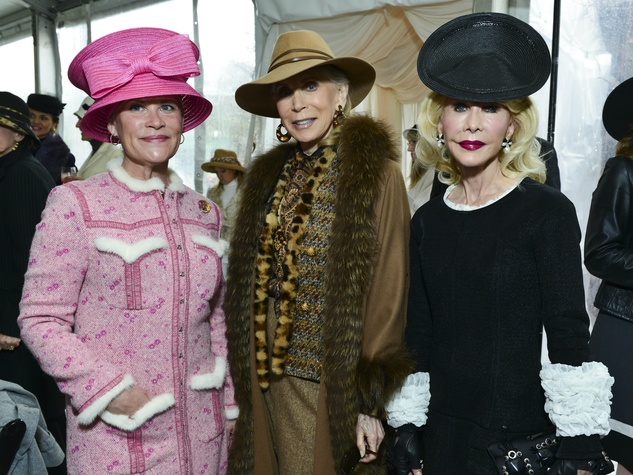 22 Kelli Blanton, from left, Joan Schnitzer and Diane Lokey Farb at Hats in the Park March 2014