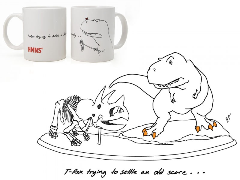 museum gift shops, gift guide, December 2012, HMNS, T-rex trying, coffee mugs