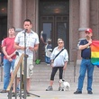 Andrew Oppleman speaks at anti-hate rally in support of LGBT gay rights at State Capitol