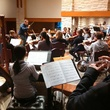 River Oaks Chamber Orchestra in rehearsal with Alaister Willis