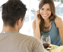 First date at restaurant or bar