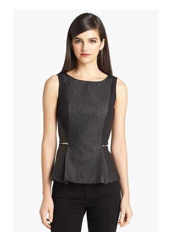 Quilted Faux Leather Peplum Top