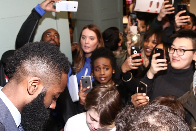 Clifford Pugh New York Fashion Week fall 2015 James Harden appearance at Bloomingdale's February 2015 Crowd 2