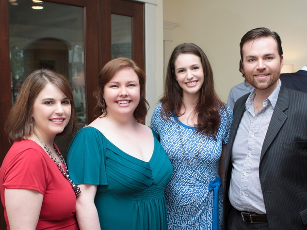 Stephanie Helms, from left, Jamie Barton, Amanda Kingston and Wesley Morgan at the Opera in the Heights reception April 2014