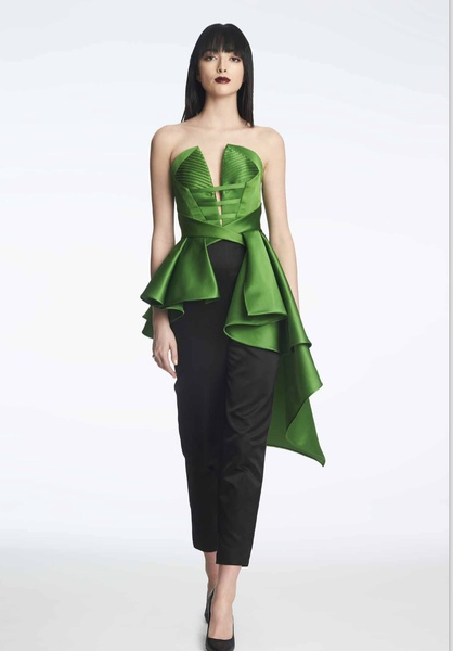 Rubin Singer fall 2017 emerald green bustier and black slacks