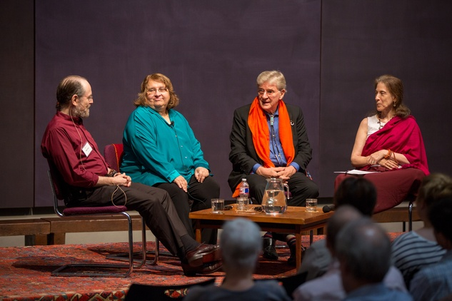 Harvey Aronson, from left, Sharon Salzberg, Robert Thurman and  Anne Klein at Love Your Enemies seminar with Robert Thurman at Rothko Chapel October 2014