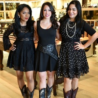 9 1583 Zuelen King, from left, Marlena Lazo and Carol Andino at the Lucchese Grand Opening February 2015