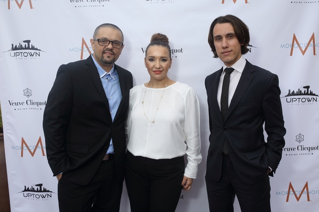 5 Valentin and Bianca Huma, left, with Sebastian Vitry at the Uptown Blow Dry grand opening in Vintage Park March 2015