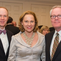 Alan Henrichson, from left, Minnette Boesel and Bob Fretz Jr. at the Preservation Houston Cornerstone Dinner February 2014