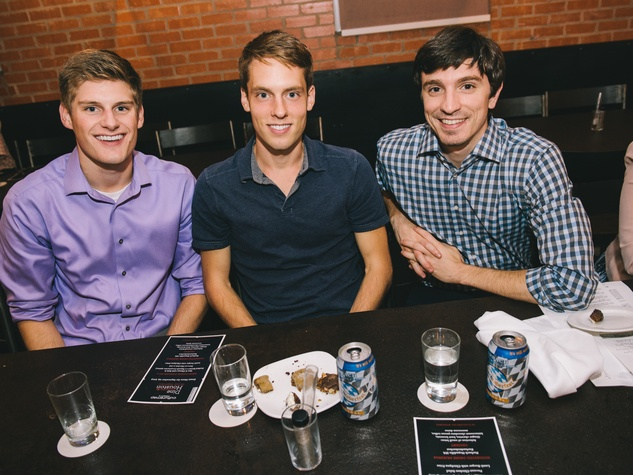 17 Brynnan Webster, from left, John Cavallo and Lee Johnson at Dine Around Houston at Sparrow Bar & Cookshop