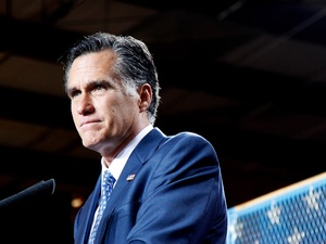 Mitt Romney, at mic
