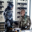 Joel Kinnaman and Jackie Earle Haley in Robocop