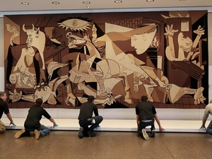 Picasso tapestry installation, February 2013