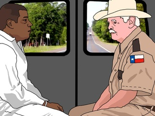 Screen shot of inmate and guard from animated film The Last 40 Miles