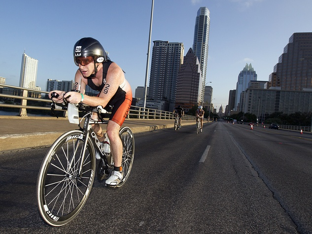 Austin TriRock triathlon cyclist Congress Avenue race