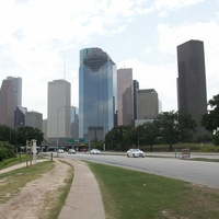 Houston skyline day downtown buildings from Allen Parkway
