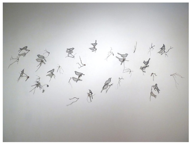 Helen Altman hand woven wire birds with Manzanita wood branches, 2012 Installation View, Moody Gallery dimensions variable