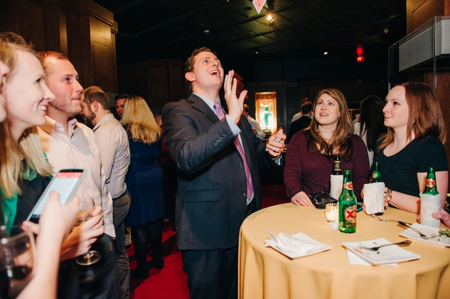 News, Shelby, Museum of Natural Science Catalyst party, Feb. 2015, Magician Ben Jackson