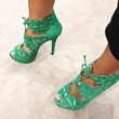"6 Charlotte Olympia shoe designer April 2013 Event guest modeling the ""Eve"" Ankle Bootie green"