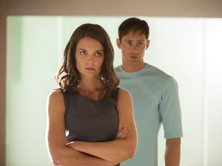 Katie Holmes and Alexander Skarsgard in The Giver